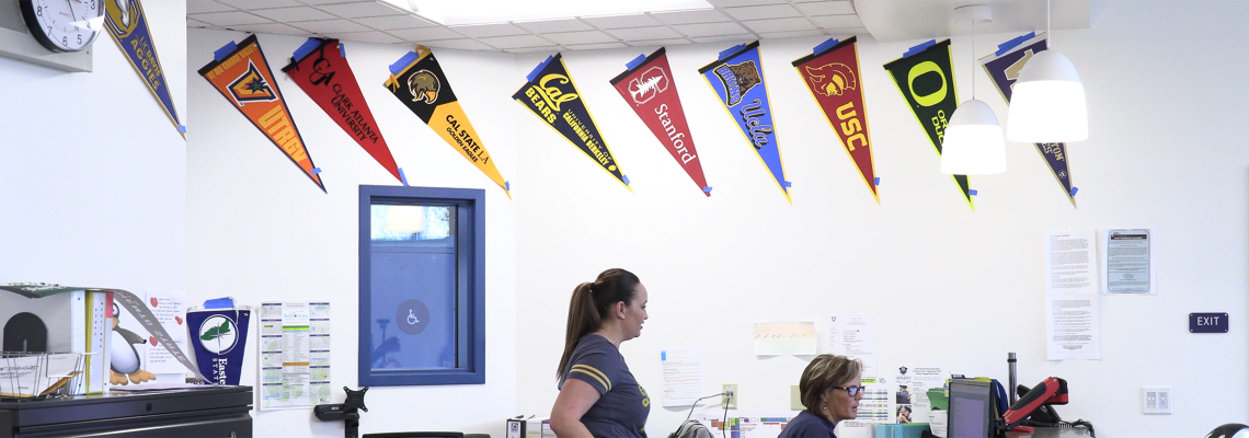 College pennants hanging in classroom