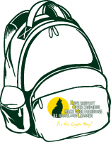 Green outlined backpack with Natomas Park logo