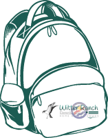 Green outlined backpack with Witter Ranch logo
