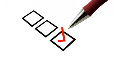 A red selected tick box with dark red pen over white background